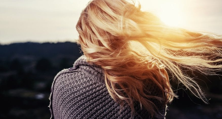 A Girl's Hair Blowing