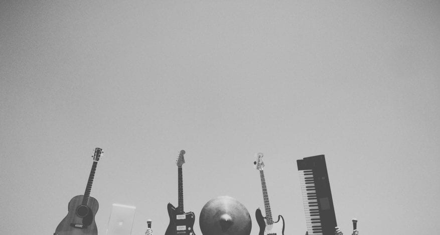 grayscale photography of music instrument
