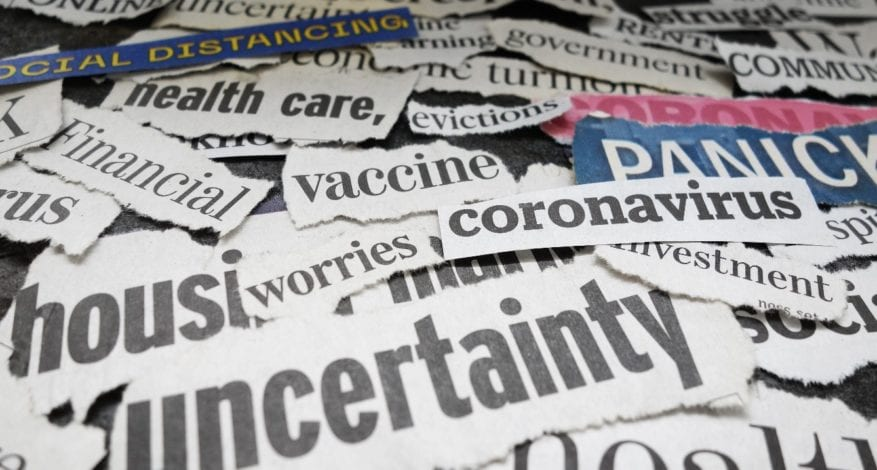 Corona Virus and economy related newspaper headlines